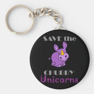 Save the Chubby Unicorns Fun Artwork Keychain