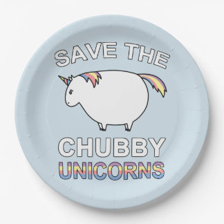 Save The Chubby Unicorns Paper Plate