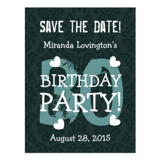 Save the Date 30th Birthday Party V30B TEAL GREEN Postcard