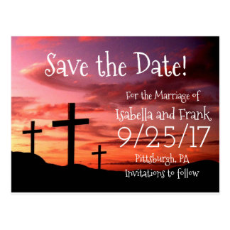 Save The Date - 3 Cross Religous Sunset Postcard