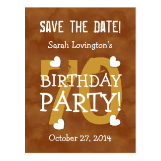 Save the Date 70th Birthday Party V70B GOLD Postcard