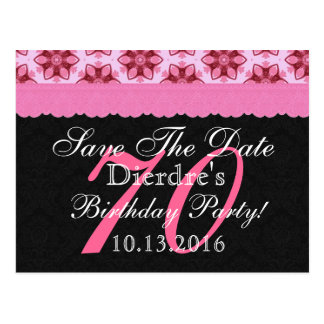 Save the Date 70th Birthday Pink and Black Lace Postcard