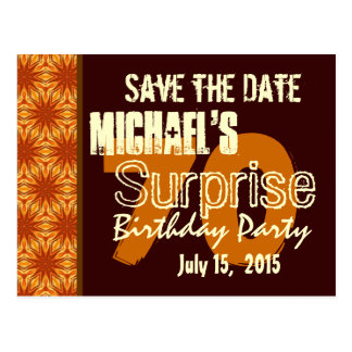 Save the Date 70th Surprise Birthday Gold Postcard