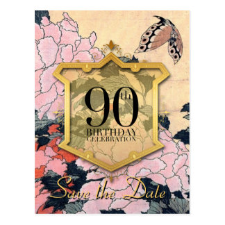 Save the Date 90th Birthday Butterfly Peonies P Postcard