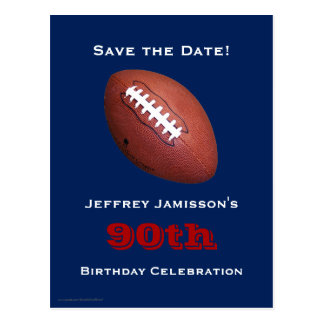 Save the Date 90th Birthday Football Postcard