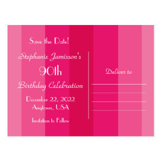 Save the Date 90th Birthday Party, Pink Stripes Postcard