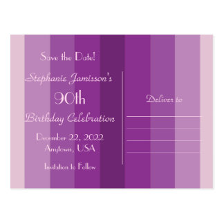 Save the Date 90th Birthday Party, Purple Stripes Postcard
