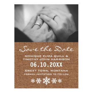 Save the Date - A Winter Snowflake Wedding Postcard