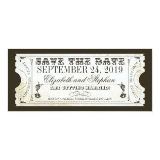 """save the date admission tickets 4"""" x 9.25"""" invitation card"""