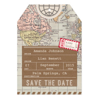 "Save the Date Airmail Luggage Tag World Map 5"" X 7"" Invitation Card"