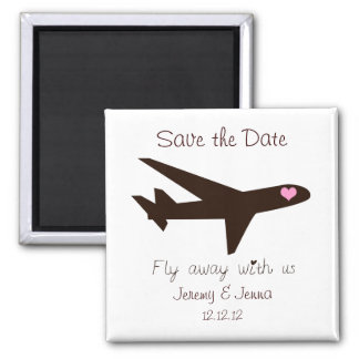 Save the Date: Airplane Square Magnet