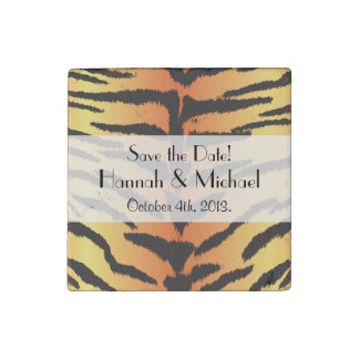 Save the Date - Animal Print, Tiger - Black Orange Stone Magnets