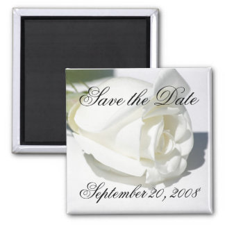 Save the Date Announcement White Rose Magnet