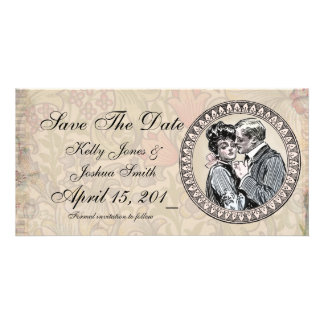 Save the Date Antique Floral Couple Photo Card