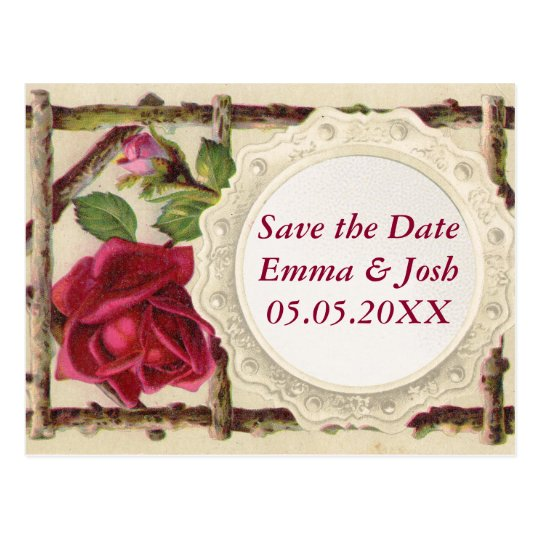 Save the Date Antique Rustic Country Rose Postcard