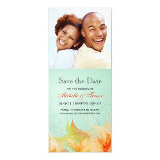 Save the Date - Aqua Orange Floral Photo Invites