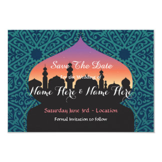 Save The Date Arabian Nights Wedding Teal Invite