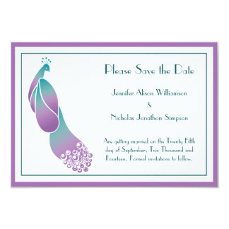 Save the Date Art Deco Peacock in Purples and Teal Card