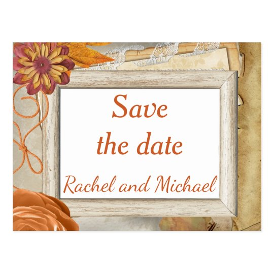 Save the date Autumn Wedding Postcard