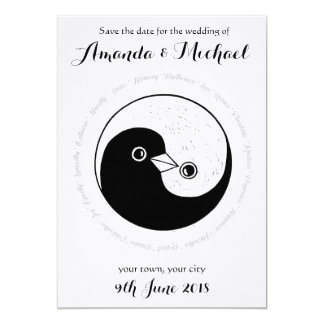 SAVE THE DATE b/w YinYang doves wedding card