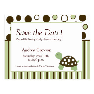 SAVE THE DATE Baby Shower Mod Dot Turtle Postcards