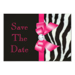 "Save The Date Baby Shower Zebra Hot Pink Bow 3.5"" X 5"" Invitation Card"