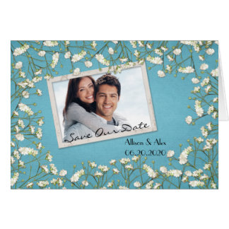 Save The Date-baby's breath photo frame Card