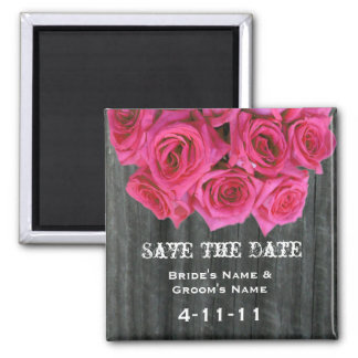 Save The Date - Barnwood & Hot Pink Roses Magnets
