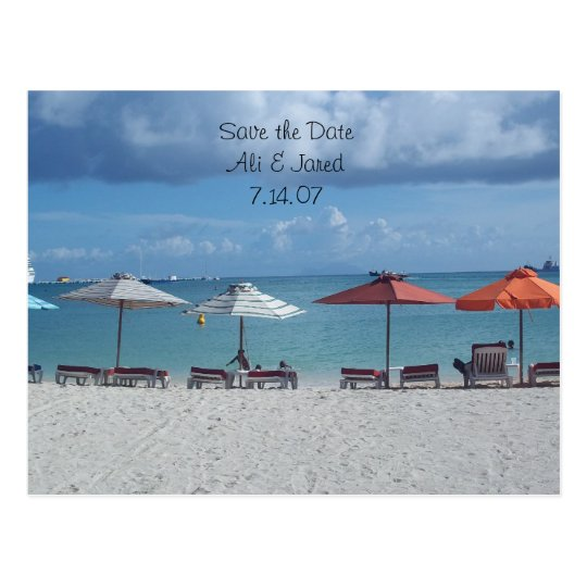 Save the date- beach destination wedding postcard