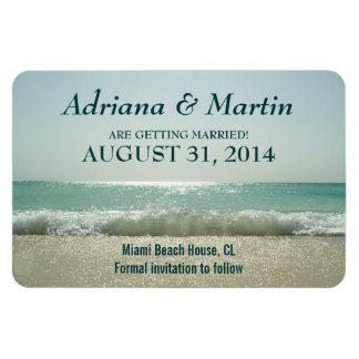 save the date beach waves magnets