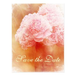 Save the Date Beautiful Peony Bouquet Postcard