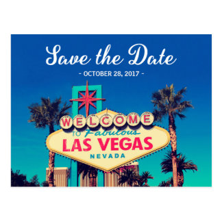 Save the Date - Beautiful Retro Las Vegas Photo Postcard