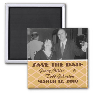 save the date beige pattern square magnet
