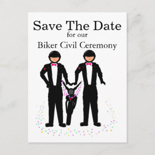 Save The Date Biker   Motorcycle Civil Ceremony Announcement Postcard 1ef55f16a360