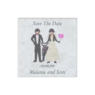 Save The Date Biker Wedding magnets, stone Stone Magnets