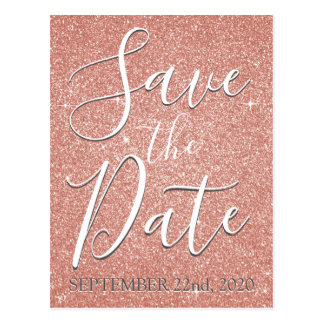 Save the Date Birthday Rose Gold Pink Glitter Postcard