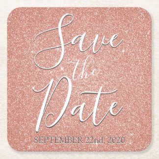 Save the Date Birthday Rose Gold Pink Glitter Square Paper Coaster
