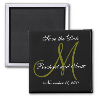 Save the Date Black and Green Monogram Magnets Magnets