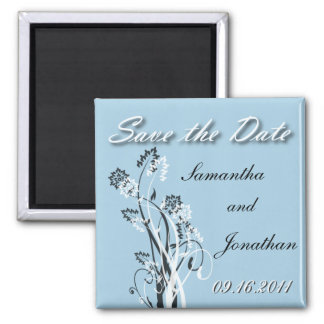 Save the Date Black and White Floral Magnet