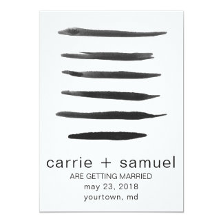 Save the Date Black and White Watercolor Stripes Card