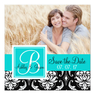 "Save the Date Black Damask Monogram Names Teal 5.25"" Square Invitation Card"