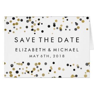 Save The Date | Black & Gold Polka Dots Card