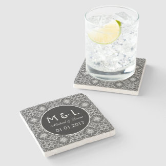 Save the Date black lace stone coasters Stone Coaster