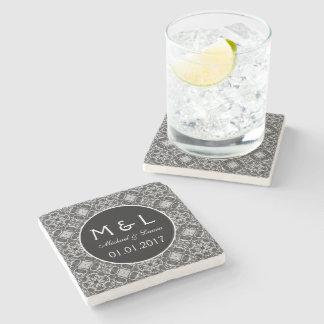 Save the Date black lace stone coasters Stone Coaster