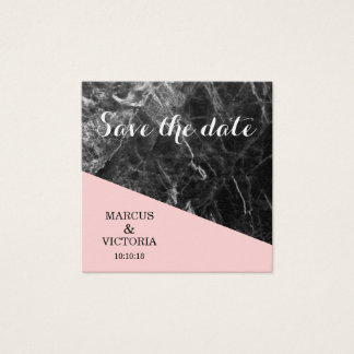 Save the date black marble Wedding Square Business Card