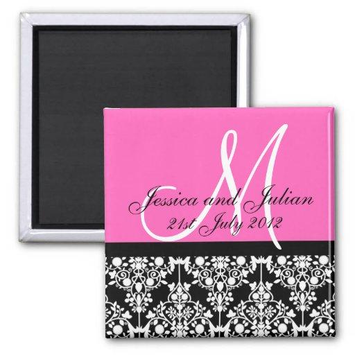 Save The Date Black/Pink Monogram Damask Trellis Refrigerator Magnet