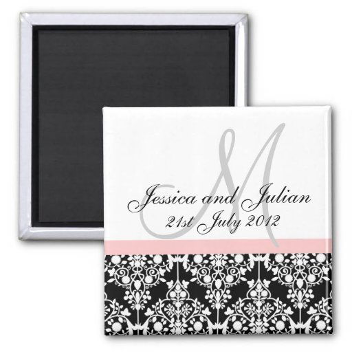 Save The Date Black/Pink Monogram Damask Trellis Fridge Magnet