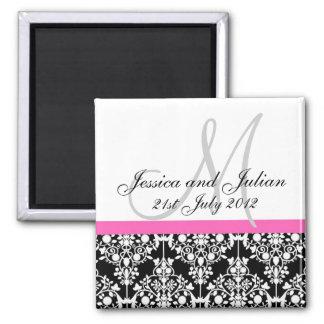 Save The Date Black/Pink Monogram Damask Trellis Square Magnet