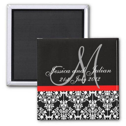 Save The Date Black/Red Monogram Damask Trellis Refrigerator Magnets
