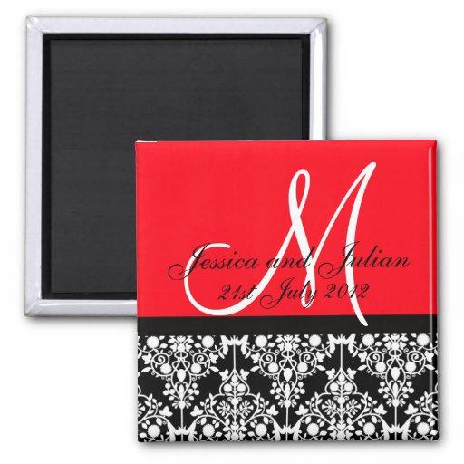 Save The Date Black/Red Monogram Damask Trellis Magnets